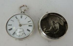 Englische Taschenuhr mit Spitzzahn, Kette und Schnecke Silber 1871 (64919)