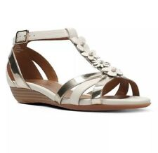 BNIB Clarks Ladies Bianca Shade White Combi Leather Sandals
