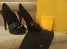 Fendi Black Suede/Patent Peeptoe Platform High Heel Slingback NIB Size 36.5 $695