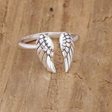 Sterling Silver Angel Wing Adjustable Ring Gothic Steampunk Mothers Day Boxed
