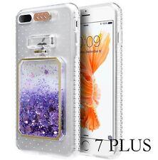 iPhone 7+ Plus - TPU Rubber Perfume Bottle Floating Liquid Purple Hearts Case