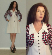 New listing As Is Sm Vtg 70s Rwb Colorblock Space Age Twiggy Brady Mod GoGo Mini Dress