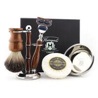 Men's Shaving Kit Manual Razor + Beard Brush + Stand + Bowl + Wooden Set Gift