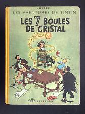 Album Hergé Tintin Les 7 boules de cristal  B2 1948 Titre bleu BON ETAT PLUS