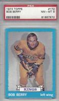 1973 Topps hockey card #172 Bob Berry, Los Angeles Kings graded PSA 8 NMMT
