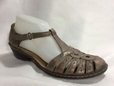 30fcd0d2823 Clarks Womens 9 Med Ankle Strap Sandals Pewter Leather T Strap Wedge Heels  Shoes