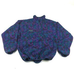 Vintage Columbia Fleece Anorak Jacket Coat Size M Purple Blue Geometric 1/2 Zip