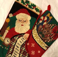 Pair of Needlepoint Red Christmas Stockings Santa Claus List Ho Ho Ho Teddy Bear