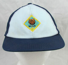 Vintage Bear Patch Fleur De Lis Trucker Hat/Cap Adjustable Snapback Blue