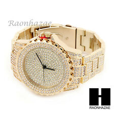 NEW MEN'S ICED OUT LUXURY BLING HIP HOP 14K GOLD PT WRIST DRESS WATCH MM008G