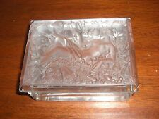 CZECH ART GLASS FIGURAL LIDDED BOX SIGNED LALIQUE FRANCE