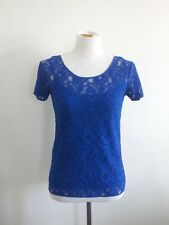 Saba size 6 electric blue nylon & viscose lace short sleeve top and cami