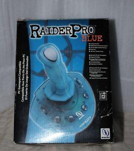 RaiderPro Blue Joystick Flight Stick  Analog PC Joystick in Original Box