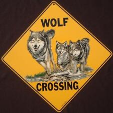 Wolf Crossing Sign 16 1/2 by 16 1/2 New novelty decor wolves signs animals