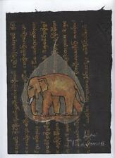 Original Ink and Oil with Bodhi Leaf   Elephant    Vientiane Laos       BL27