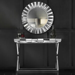 Silver Round Wall Mirror Mirrored Console Glass Living Room Furniture