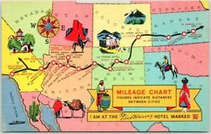"1940s FRED HARVEY H-4992 Linen Postcard ""MILEAGE CHART"" Southwest US Map Unused"