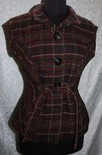 CAbi Woven Cinch Style Vest M Womens style #691 Wool Blend Multi Color Plaid