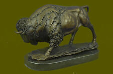 American Buffalo Bison Western Artwork Bronze Marble Statue Sculpture Art Décor