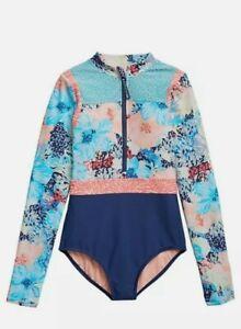 Athleta Girl Bora Bora Floral Rash Guard One Piece Swim Suit Size L 12