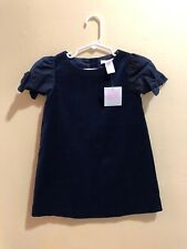 Janie and Jack NWT Sapphire Sweet Navy Velvet Dress Bow accent on Sleeves sz 3