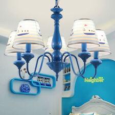 Cartoon Children's Room Chandelier Boy Bedroom Blue Boat Pendant Light Fixtures