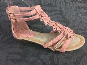 Damen Sandalen neu Keilabsatz Blumen Sandaletten Glitzer Nieten Riemchen ST98