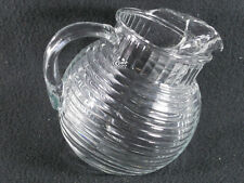 Vintage Anchor Hocking Tilt Ribbed Glass Ball 1 Quart Pitcher with Ice Catcher