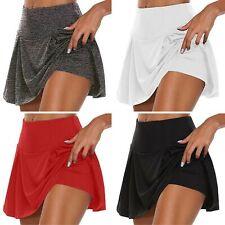 Falda para mujer ligero forrado de activos que se ejecutan Entrenamiento Tenis Deportes Pantalones Cortos Caliente