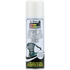 1 x blanc brillant plastique Peinture Spray CAN-BUS 200ml meubles de jardin