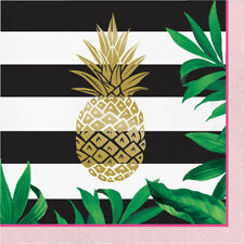 16 x Luxury Golden Pineapple Tropical Party Paper Napkins Gold foil Finish