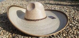 Mexican Hat Charro Straw Size 7 3/8.Sombrero Fino Charro de Palma Verde Talla 59