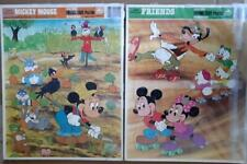 2 Walt Disney Frame Tray Puzzles ~ MICKEY MOUSE ~ FRIENDS by Golden 1985