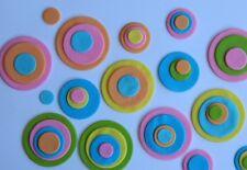 24 edible RETRO CIRCLES CUPCAKE cake topper DECORATION 70s wedding DISCO round