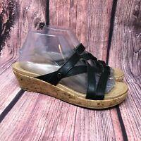Crocs Women's Black Strappy Cork Wedge Heel Platform Sandals Slides Size 8