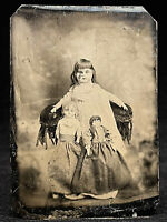 SUPER RARE 1/6 PLATE TINTYPE - STILL LIFE OF THREE ANTIQUE DOLLS - CIRCA 1870's