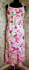 Floral linen dress by PER UNA Size 14 Pink green peach Floral adornment