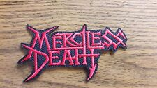 MERCILESS DEATH,IRON ON RED EMBROIDERED PATCH