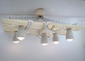 Wooden chandelier with LED spots and shades of cotton rope, night light, lamp