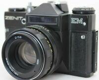Zenit EM SLR 35mm Film Camera Black & Helios 44m Lens