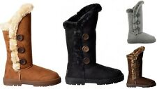Ella Whisher Ladies Women Flat Fur Lined Winter Warm Boots Triple 3 Button New