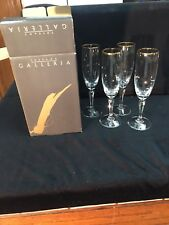 Crystal Toscany Galleria Champagne Flute Camelot Set/4 Gold Rims New In Box 🇺🇸