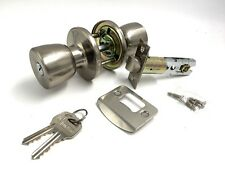 SATIN NICKEL KEYED LOCK ENTRANCE MORTICE DOOR KNOB SET
