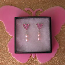 Elegant Earrings With Pink Tourmaline Pearl & White Cz.3.6 Gr.4 Cm. Wide In Box