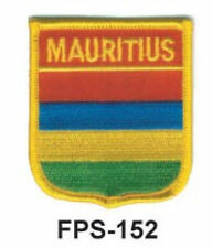 2-1/2'' X 2-3/4 MAURITIUS Flag Embroidered Shield Patch-