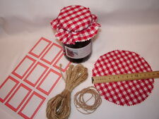 JAM covers X 6 Large Red Gingham  INC sticky jar labels rubber  bands & TWINE