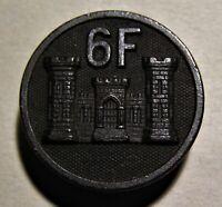 RARE WWI COMPANY F 6TH ENGINEERS COLLAR DISC WITH NUT - ORIGINAL WW1