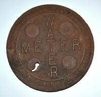 """VINTAGE WATER METER COVER: DALLAS FOUNDRY DALLAS TEXAS 12 5/8"""" DIAMETER"""