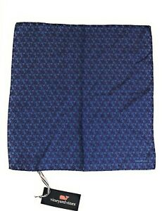 "VINEYARD VINES 15"" Silk Pocket Square Navy Blue Red & White Floral Print NWT"