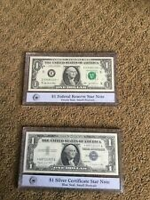 $1 2003A Federal reserve star note and $1 1957a silver certificate star note PCS